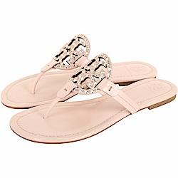 TORY BURCH Miller 鉚釘鑲嵌雙T飾夾腳涼拖鞋(粉色)