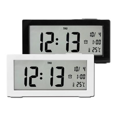 居家生活 多功能 靜音 智能感光 貪睡 日期 星期 溫度顯示 電子鬧鐘 - 白/黑