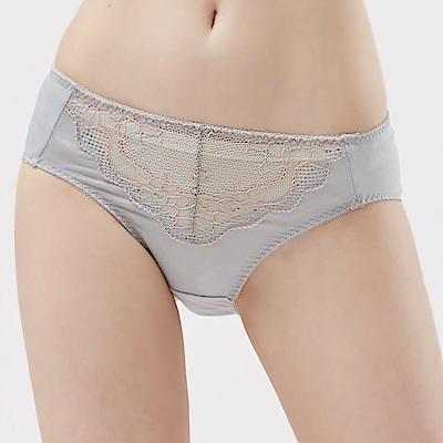 思薇爾 玫瑰花宴系列M-XXL蕾絲中腰三角內褲(蒼天灰)
