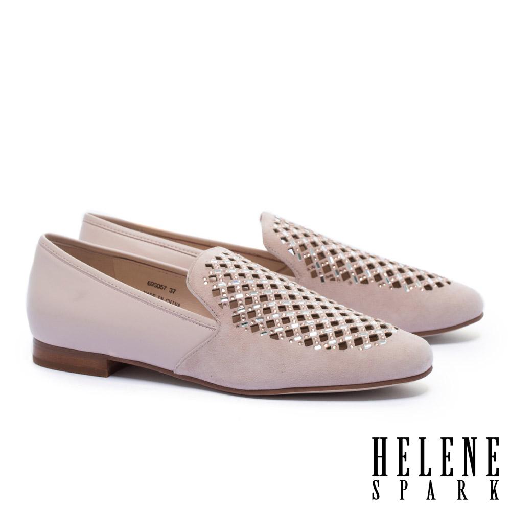 低跟鞋 HELENE SPARK 華麗璀璨晶鑽沖孔麂皮拼接羊皮樂福低跟鞋-粉