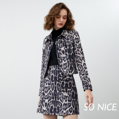 SO NICE時尚豹紋印花麂皮短裙