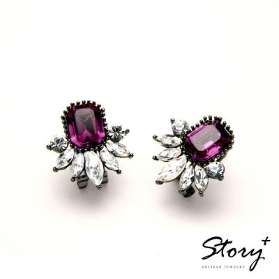 STORY故事銀飾-氣質時尚耳環-Dazzling晶鋯耳環(酒紅)