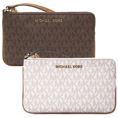 MICHAEL KORS JET SET 滿版LOGO防刮皮革拉鍊手拿包