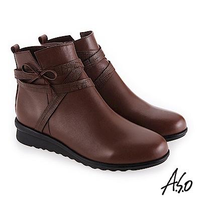 A.S.O 絕佳質感 真皮鞋面心機美靴 咖啡