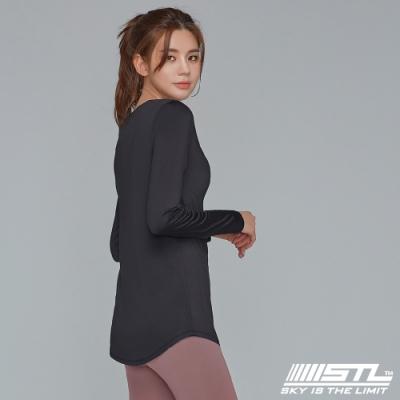 STL yoga ESSENCE LS 韓國瑜珈 運動機能 本質長版 合身蓋臀長袖上衣 黑
