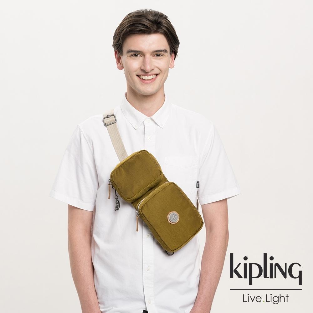 Kipling 低調皮革沉穩個性棕褐色雙格收納隨身腰包-OVANDO