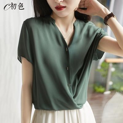 初色  簡約舒適設計感上衣-共2色-(M-2XL可選)