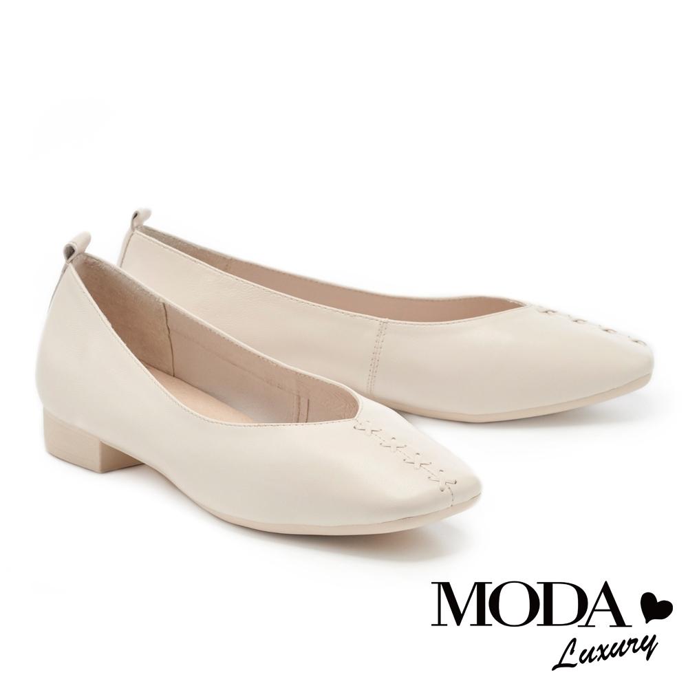 低跟鞋 MODA Luxury  舒適優雅全真皮獨特編織造型方頭低跟鞋-白