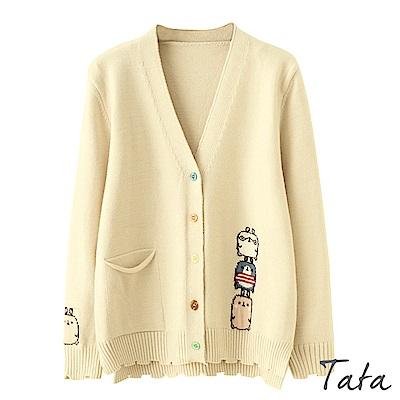 玩偶刺繡不規則針織外套 共三色 TATA