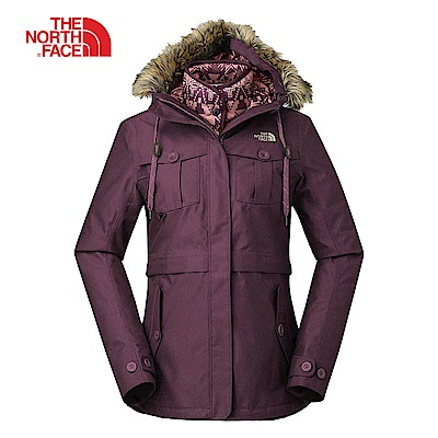 The North Face北面女款紫色防水保暖三合一外套|3L7G2JW