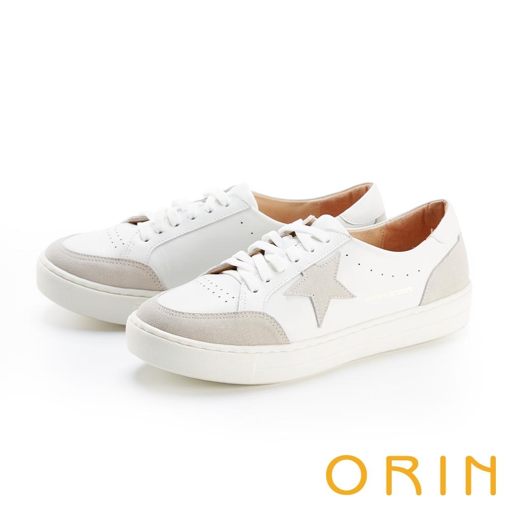 ORIN 星星點綴真皮綁帶 女 休閒鞋 白+灰