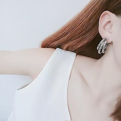 梨花HaNA 韓流冷淡歐美氣息三層圈飾耳環