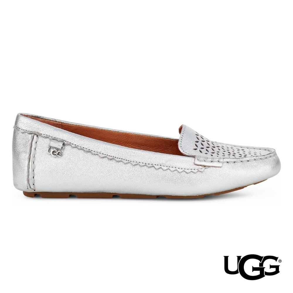 UGG 女士BEV羊皮休閒樂福鞋-銀色
