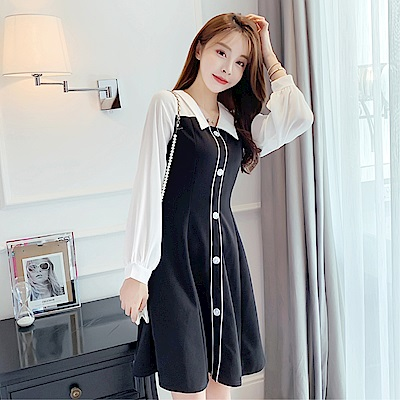 DABI 韓系收腰顯瘦polo假兩件拼接長袖洋裝