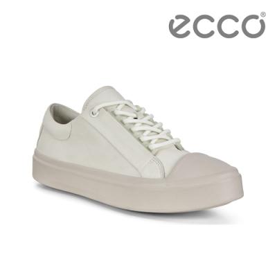 ECCO FLEXURE T-CAP W 輕彈皮革百搭休閒鞋 女-白