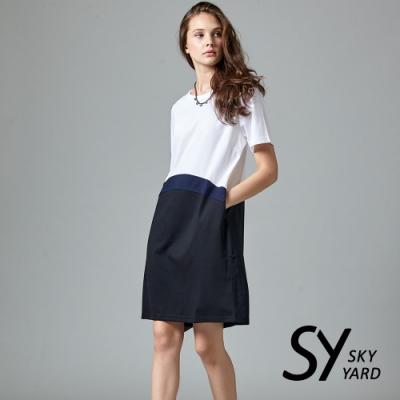 【SKY YARD 天空花園】異色拼接短袖洋裝-白色