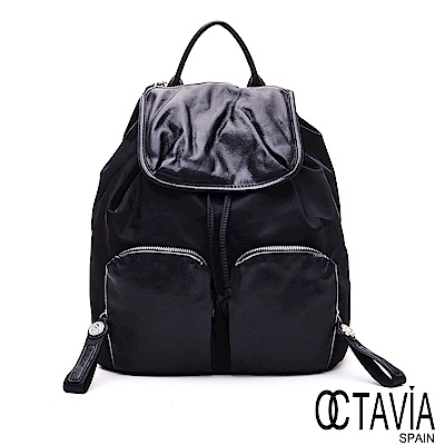 OCTAVIA8 - 愛自己 日系U型包蓋尼龍配皮機能口袋後背包 - 舒服黑