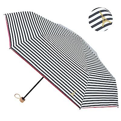 2mm 100%遮光 鐵塔條紋黑膠輕量手開傘 (黑白)