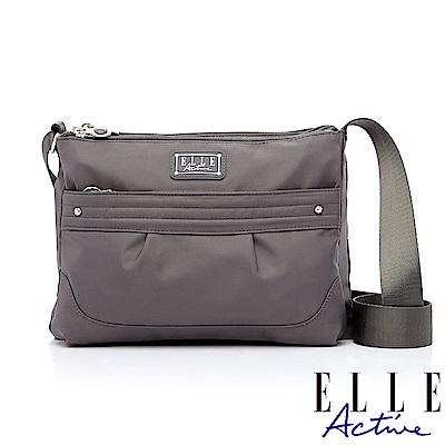 ELLE Active 優雅隨行系列-多夾層側背包/斜背包-灰色