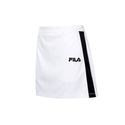 FILA 女吸濕排汗短裙-白色 5SKT-5486-WT