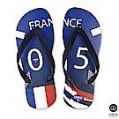 QWQ世界盃足球紀念鞋 法國 細帶女款款天然橡膠人字拖