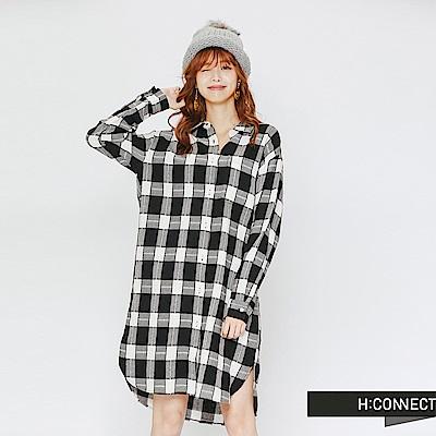 H:CONNECT 韓國品牌 女裝-格子配色長版襯衫-黑