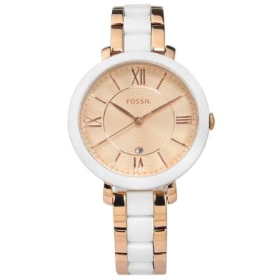 FOSSIL Jacqueline 羅馬刻度 矽膠 不鏽鋼手錶-白x鍍玫瑰金/36mm