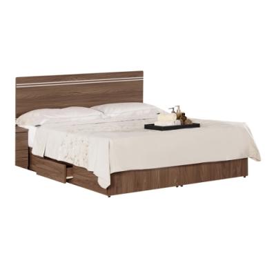 文創集 費城6尺木紋雙人加大床台(床頭片+三抽床底+不含床墊)-181.5x189x91cm免組