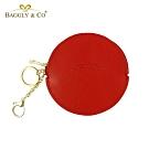 【BAGGLY&CO】精品質感皮革拉鍊圓形零錢包(紅色)