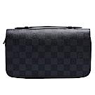 LV N41503經典Damier塗層帆布印花小牛皮飾邊拉鍊萬用手拿包