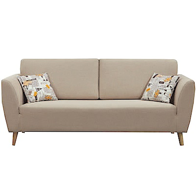 品家居 艾可利時尚米緹花布三人座沙發椅-198x82x90cm免組