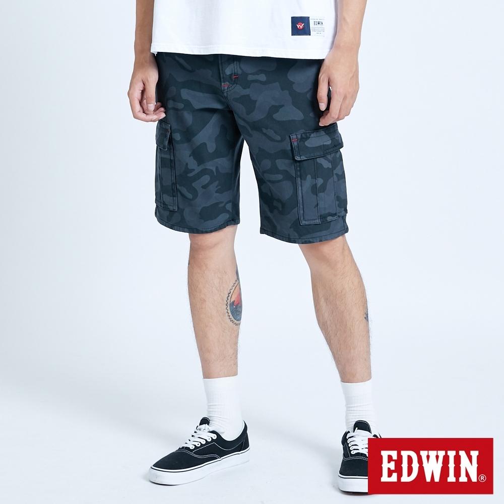 EDWIN JERSEYS 迦績 EJ3 涼感迷彩工作短褲-男-暗灰色