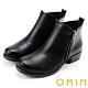 ORIN 經典復古 牛皮雙拉鏈低跟短靴-黑色 product thumbnail 1