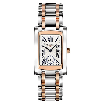 LONGINES浪琴 多情系列18K玫瑰金小秒針石英錶-雙色版/22mm