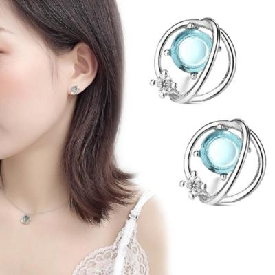 iSFairytale伊飾童話 幻想星球 藍水晶銅電鍍耳環