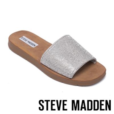 STEVE MADDEN-HAFLA 休閒舒適鑽貼拖鞋-銀色