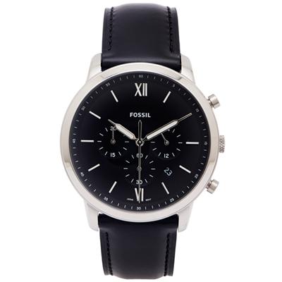FOSSIL 文青款計時的皮帶手錶(FS5452)-黑色面X黑色/44mm
