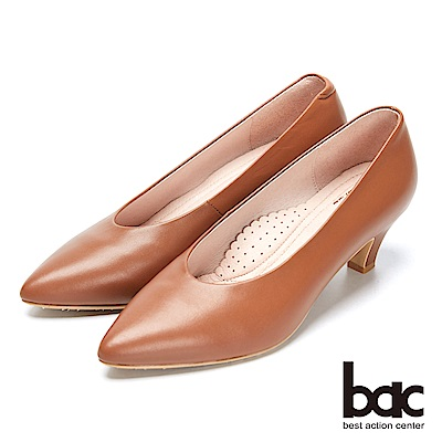bac經典回歸-溫潤感復古深V口粗跟高跟鞋