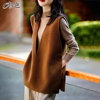 初色  側開衩V領毛衣背心-共2色-(M-2XL可選)