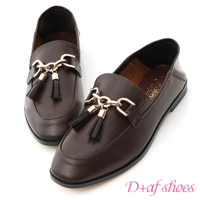 D+AF 紳士風格.金釦流蘇後踩式樂福鞋*咖