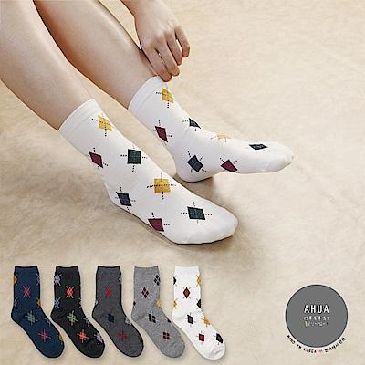 阿華有事嗎韓國襪子滿版菱格紋中筒襪韓妞必備長襪正韓百搭純棉襪