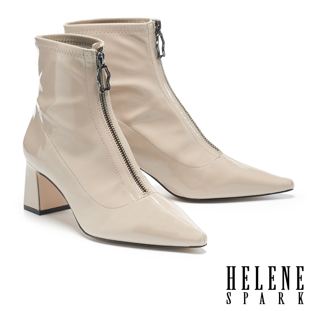 短靴 HELENE SPARK 摩登時髦金屬拉鍊尖頭粗方跟短靴-米