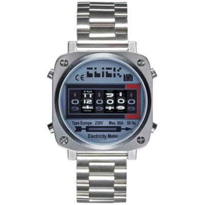 CLICK 復古電度錶-銀面銀鋼帶/44mm