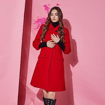 Chaber巧帛 時尚挺版簡約波浪剪裁羊毛長版大衣外套(兩色)-紅