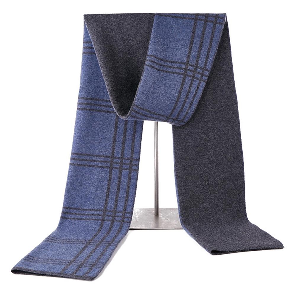 米蘭精品 羊毛圍巾-格紋拼色雙面針織男披肩情人節生日禮物3色73wh24