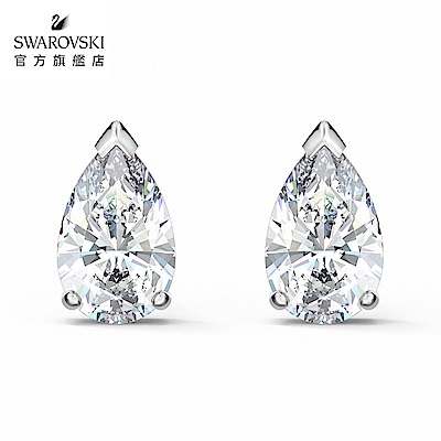 SWAROVSKI 施華洛世奇 Attract 白金色簡約珍珠穿孔耳環