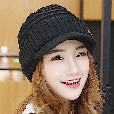 FLYSPIN 素色雙層針織毛線加厚翻邊男女冬帽