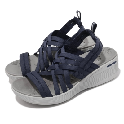 Skechers 涼鞋 Pier Lite 楔型鞋 編織織帶 女鞋 避震 緩衝 百搭 夏日 增高 藍 灰 163271NVY
