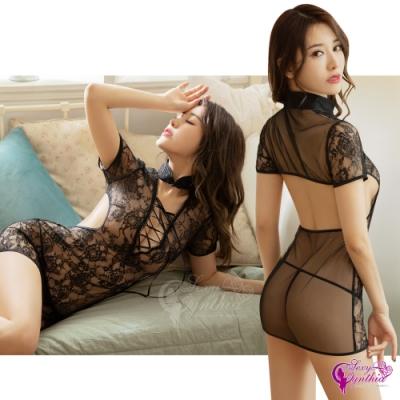 Sexy Cynthia 角色扮演 純黑鏤空透視蕾絲二件式短袖旗袍式丁字褲睡衣-黑F