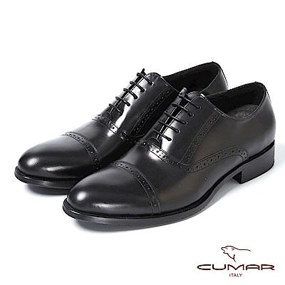 CUMAR英式牛津 復古質感舒適皮鞋-黑